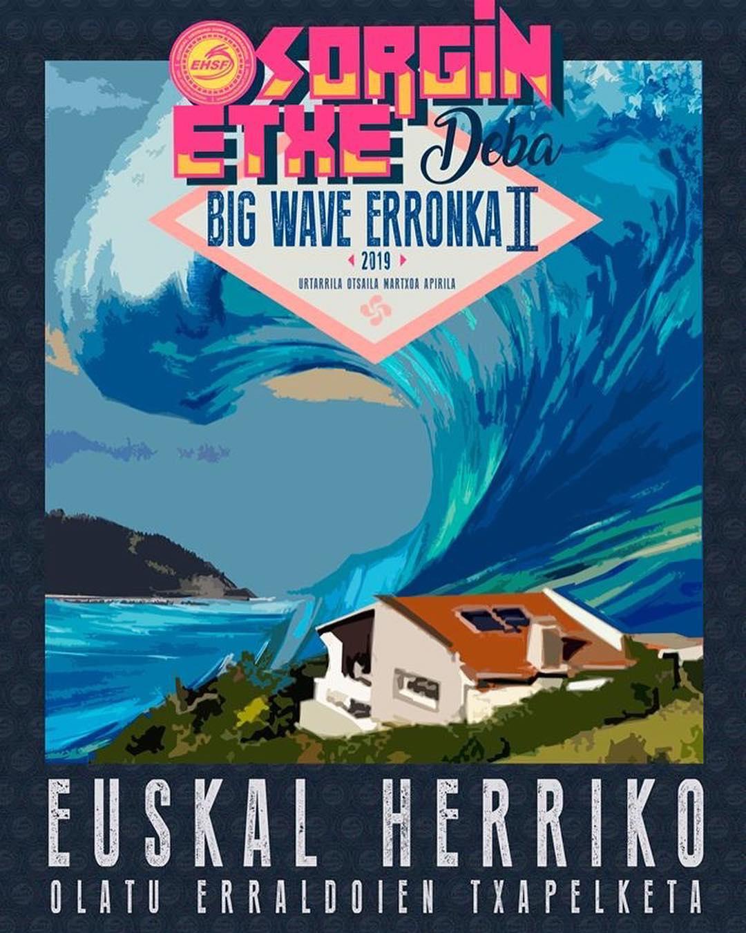 Cartel campeonato Sorgin Etxe Deba Big Wave Erronka II, Essus Surf Eskola