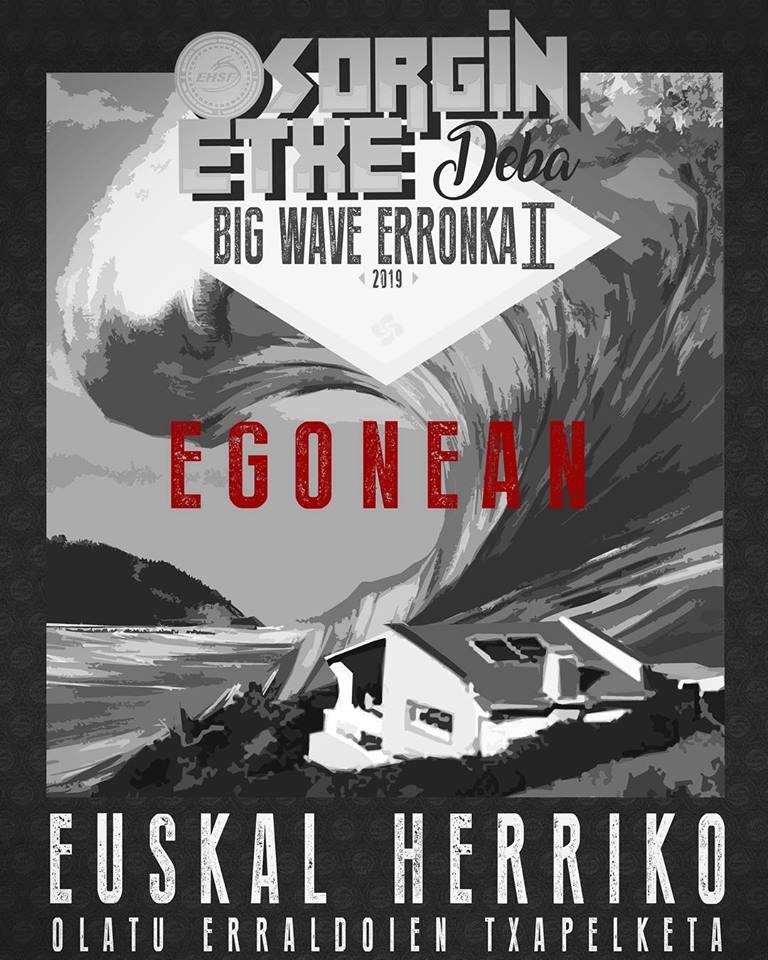 Cartel campeonato de surf Sorgin Etxe Deba Big Wave Erronka II Egonean, Essus Surf Eskola