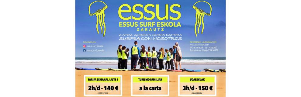 Cartel Essus Surf Eskola 2019ko uda - Zarautz